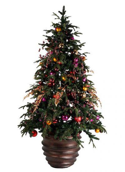 Weihnachtsbaum geschmückt in Kübel, Weihnachtsfeier, Kunstbaum mieten - Bas de Boer - Eventstyling (www.basdeboer-eventstyling.de) (1)