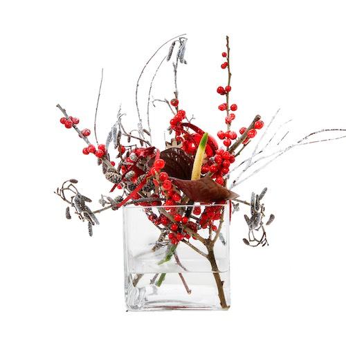 Weihnachtsdekoration Tischdekoration Weihnachtsgesteck in Glasvase Weihnachtsdekoration für Weihnachtsfeier Betriebsfeier Eyecatcher Bas de Boer Eventstyling basdeboer eventstyling 01 - Weihnachtsdeko und Weihnachtsbäume