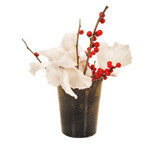 Weihnachtsdekoration mit Blumen in Vase Tischdekoration Weihnachtsdekoration für Weihnachtsfeier Betriebsfeier Eyecatcher Bas de Boer Eventstyling www.basdeboer eventstyling.de 02 - Weihnachtsdeko und Weihnachtsbäume