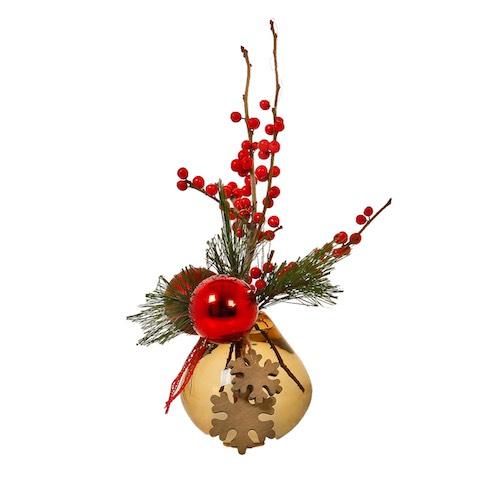 Weihnachtsgesteck mit Beeren und Weihnachtskugel in Glasvase Weihnachtsdekoration für Weihnachtsfeier Betriebsfeier Tischdekoration Bas de Boer Eventstyling basdeboer eventstyling 03.png 07 - Weihnachtsdeko und Weihnachtsbäume