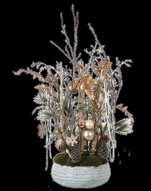 Weihnachtsgesteck mit Weihnachtskugeln und Sternen und Moos in Schale Weihnachtsfeier Eyecatcher Bas de Boer Eventstyling www.basdeboer eventstyling.de  1 - Weihnachtsdeko und Weihnachtsbäume