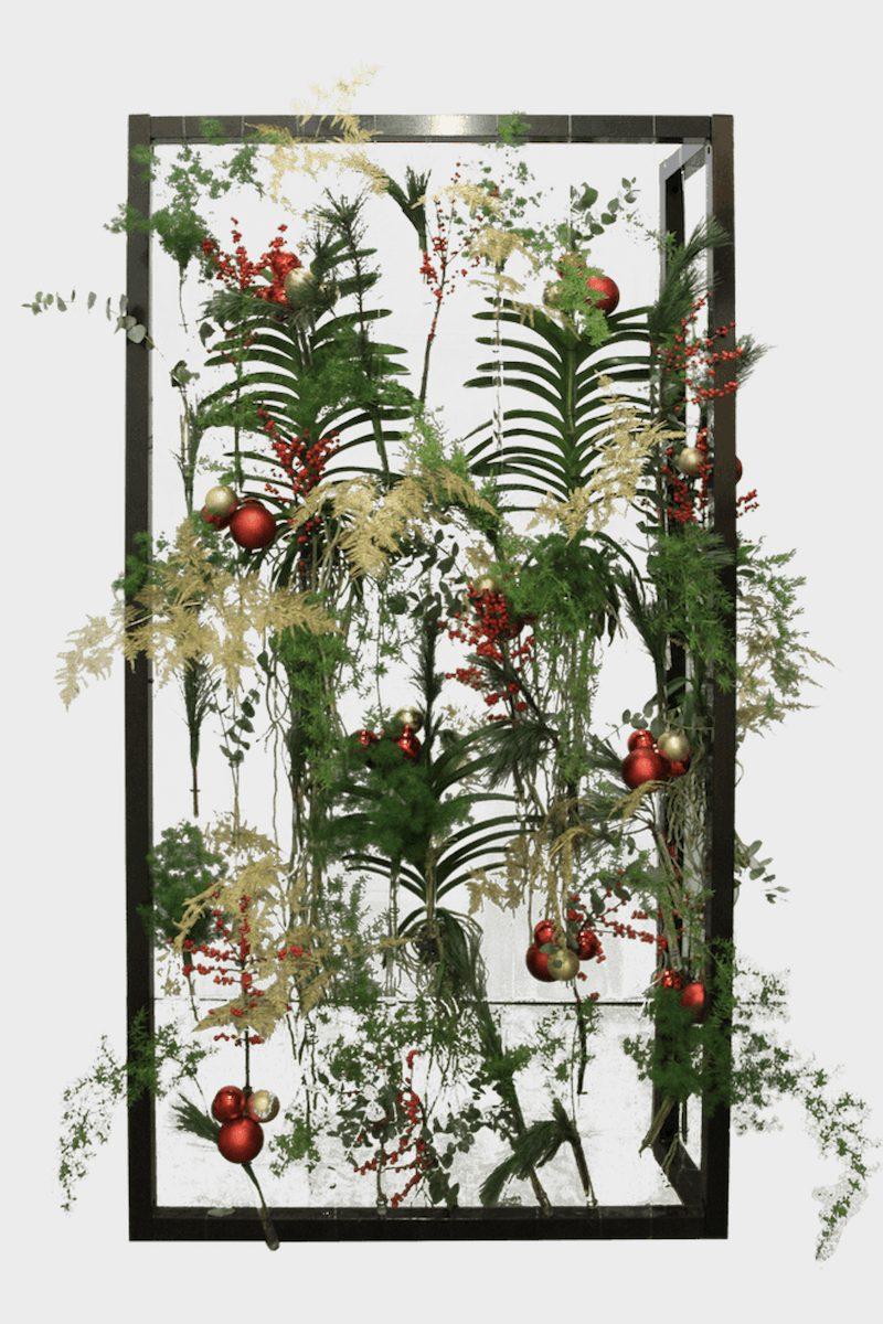 Bas de Boer Eventstyling Weihnachtsdekoration Traditional Botanic Frame mit Pflanzen und Weihnachtskugeln weihnachtsfeier www.basdeboer eventstyling.de .  - Weihnachtsfeier Eventstyling