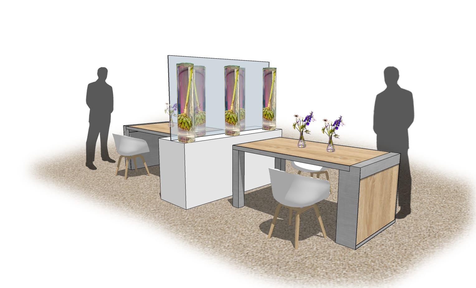 Raumteiler 'LAB STYLE' Raumteiler mit Acryplatte Glaszylinder und Blumendekoartion Raumteiler zwischen Tischen für social distancing von Bas de Boer Eventstyling  - Raumteiler / Raumtrenner