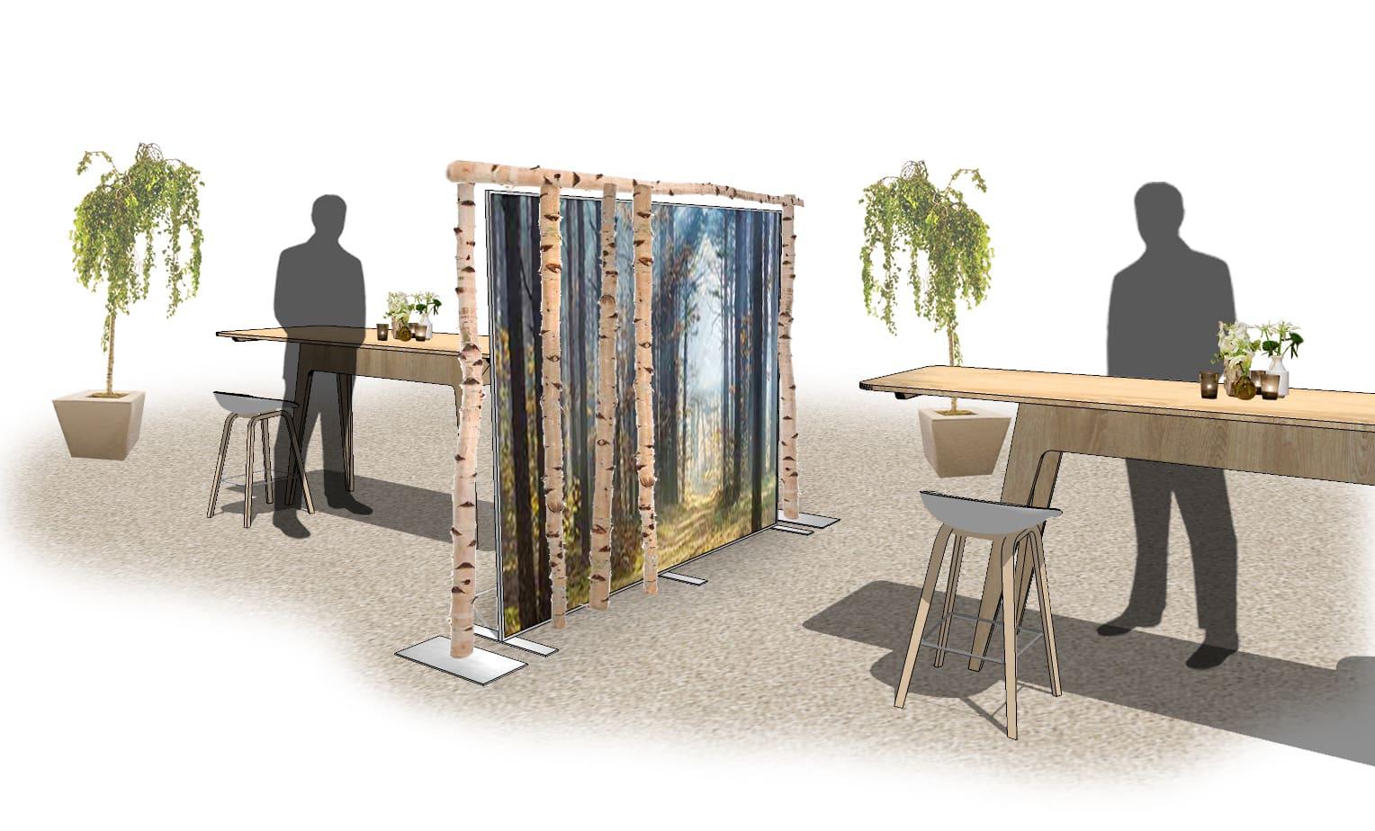 Raumteiler 'wall of birch' Raumteiler aus einen Birkenstamm Rahmen und Stimmungswand mit Print von Bas de Boer Eventstyling für social distancing www.BasdeBoer Eventstyling.de  - Raumteiler / Raumtrenner