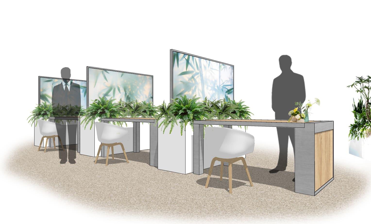 Raumteiler Plants Visuals von Bas de Boer Eventstyling Raumteiler aus Pflanzenkügel mit Echtpflanzen und Rahmen mit bedrucktem StretchstoffTische mit Trennwand social distancing - Raumteiler / Raumtrenner