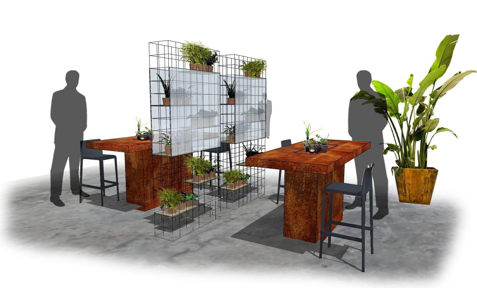 Raumteiler green touch clear Raumtrenner aus Stahlrahmen mit Pflanzendekoartion Grünpflanzen Plexiglasscheibe Bas de Boer Eventstyling für social distancing - Raumteiler / Raumtrenner