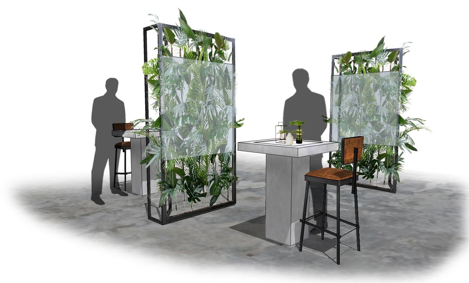 Raumteiler natural Art Raumteiler aus einem Alurahmen mit Grünpflanzen und Plexiglasscheibe von Bas de Boer Eventstyling für social distancing www.BasdeBoer Eventstyling.de  - Raumteiler / Raumtrenner